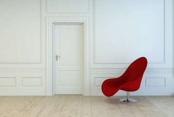 Red modular chair in an empty paneled room