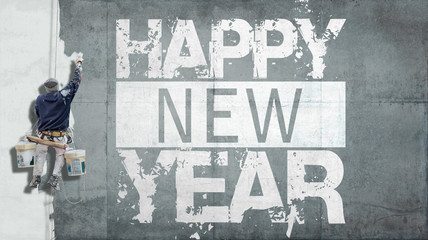 Happy New Year on facade