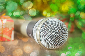 Silver microphone with christmas gift