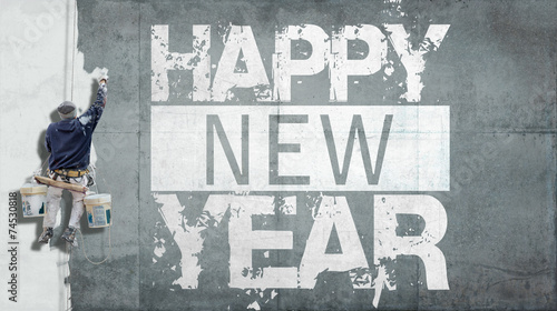 canvas print picture Happy New Year on facade