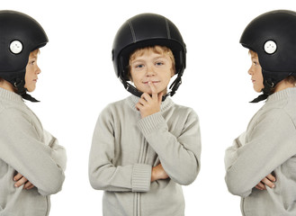 young triplets boy with black helmet