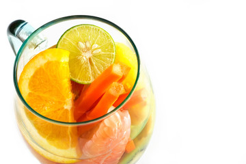 Mug delicious colorful refreshing drink of mix fruits