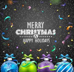 Christmas balls and confetti