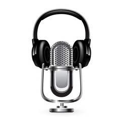 Microphone with headphones. Vector 10 eps