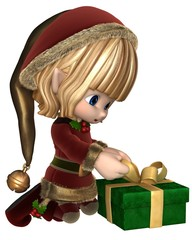 Cute Toon Christmas Elf Wrapping a Present