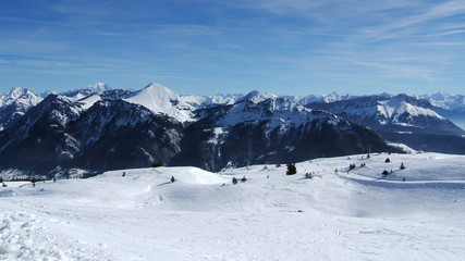 great view of french alps with snow