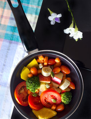 Clean food, mix fruit and herb in pan on dark background