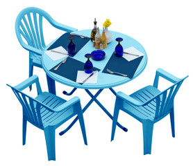 Blue plastic table with chairs isolated on white