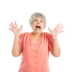 Stressed old woman