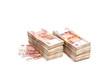 Постер, плакат: Пачки российских денег на белом фоне