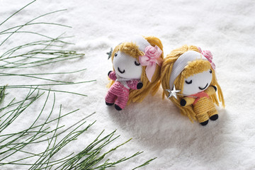 two angel relax sleep on snow befor christmas, doll hand made