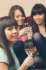 Cheerful young female friends with wine glasses enjoying