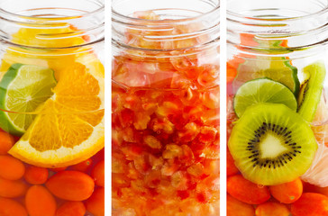 delicious refreshing drink mix fruits, infusion water