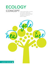 Recycle Reuse Ecology concept, illustration design layout templa