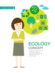 Ecology green recycle save the earth concept,cartoon illustratio