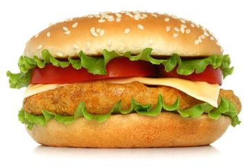 Big chicken hamburger on white background.