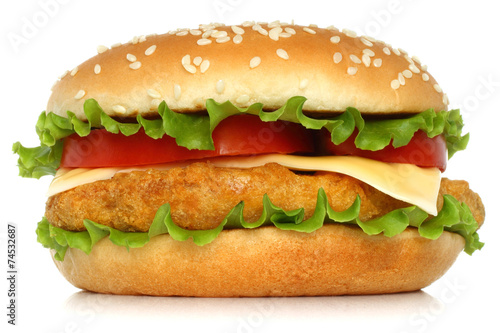 Big chicken hamburger on white background.