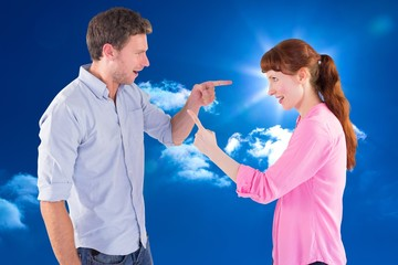 Composite image of couple arguing with each other