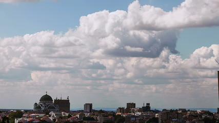 Time Lapse Clouds Over City