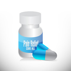 pain relief pills and jar illustration