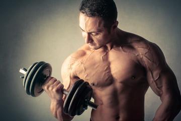 Man doing weight lifting