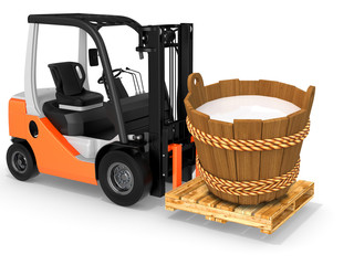 3d forklift with milk wood bucket