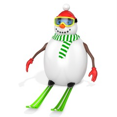 3d snowman with skis