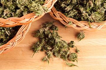 marijuana on a wooden table