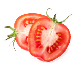 Tomatoes slices isolated on white background