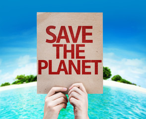 Save The Planet card with a beach on background