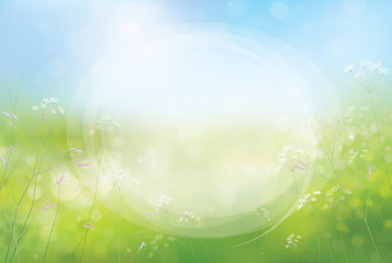 Vector circle frame on nature background.