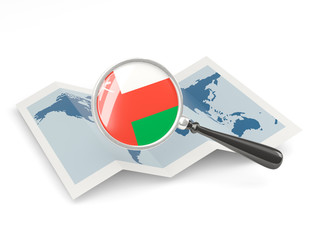 Magnified flag of oman with map