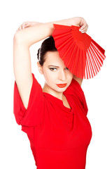 Portrait of a latino dancer wearing red dress