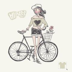 Hipster Teenage Girl On Her Vintage Bike