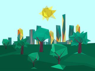 polygonal cityscape park
