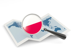 Magnified flag of poland with map