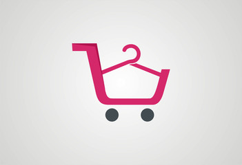 Cart shopping fashion logo vector