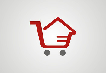 Sale home cart logo vector