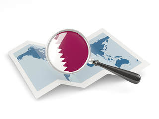 Magnified flag of qatar with map