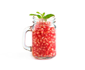 Mug delicious refreshing drink of Pomegranate with mint