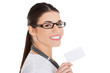 Portrait of female doctor holding white card