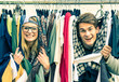 Leinwanddruck Bild - Young hipster couple in love at shopping market