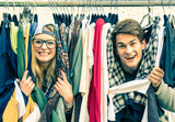 Fototapety Young hipster couple in love at shopping market