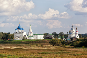 Beautiful view of the Suzdal Kremlin and Ilyinsky church. Russia