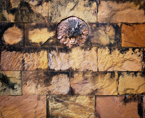 colorful stained lion stone and old brick wall background