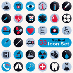 Set of round medical icons