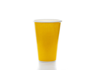 yellow paper coffee cup on white background