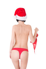 Back view woman with santa hat holding bra