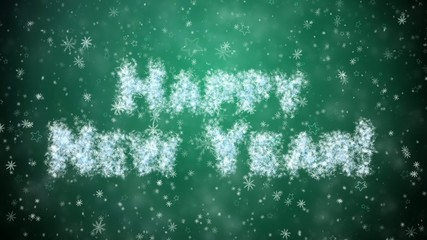 Inscription Happy New Year from snowflakes, snow and stars