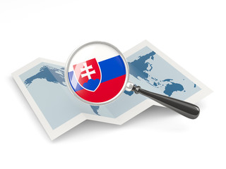 Magnified flag of slovakia with map